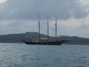 Alliance at anchor in the Robeson Islands