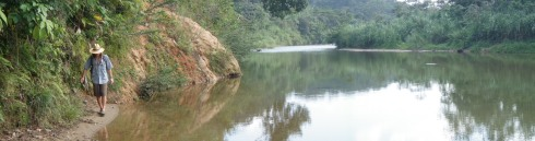 Alex on the banks of the Cangandi River, Kuna Yala, Panama